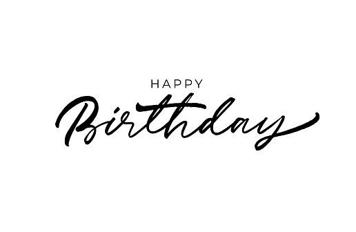 Happy Birthday greeting card with vector lettering design. Hand drawn modern brush calligraphy.