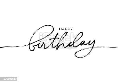 istock Happy Birthday greeting card with vector lettering design. Hand drawn modern pen calligraphy. 1270606683