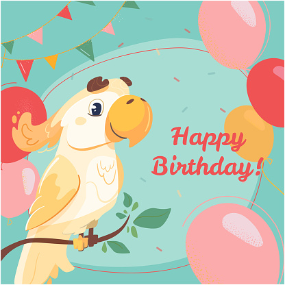 Happy birthday greeting card with yellow cockatoo. Vector postcard in cartoon style with a cute parrot and a festive inscription. The bird, balls and confetti on a green background.