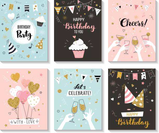 Happy birthday greeting cards. Happy birthday greeting card and party invitation templates, vector illustration, hand drawn style cake drawings stock illustrations