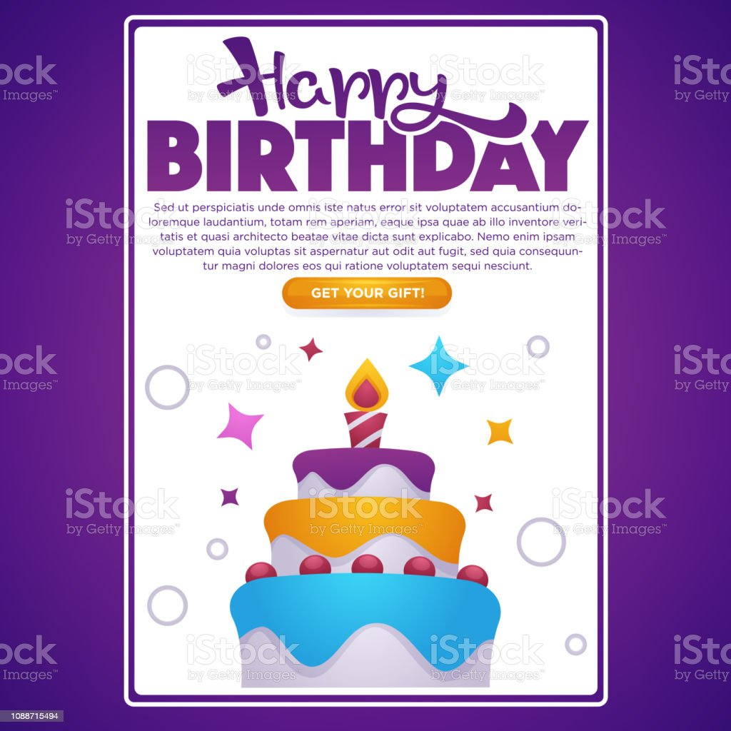Happy Birthday Greeting Screen For Your Mobile App Vector Background With Image Of Cake