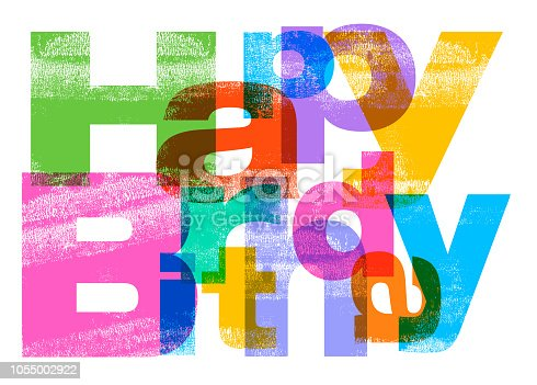 Happy Birthday message in Letterpress texture style