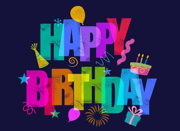 ilustraciones, imágenes clip art, dibujos animados e iconos de stock de feliz saludo de cumpleaños - cumpleaños