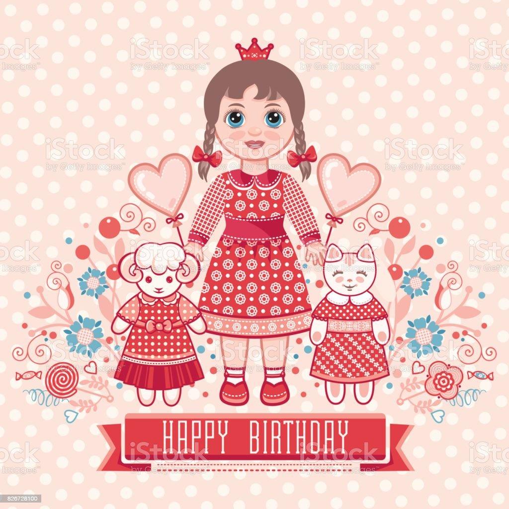 Alles Gute Zum Geburtstaggrüße Karte Für Mädchen Stock Vektor Art