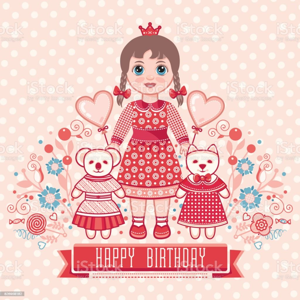Happy Birthday Greetings Card For Girl Stock Vector Art More