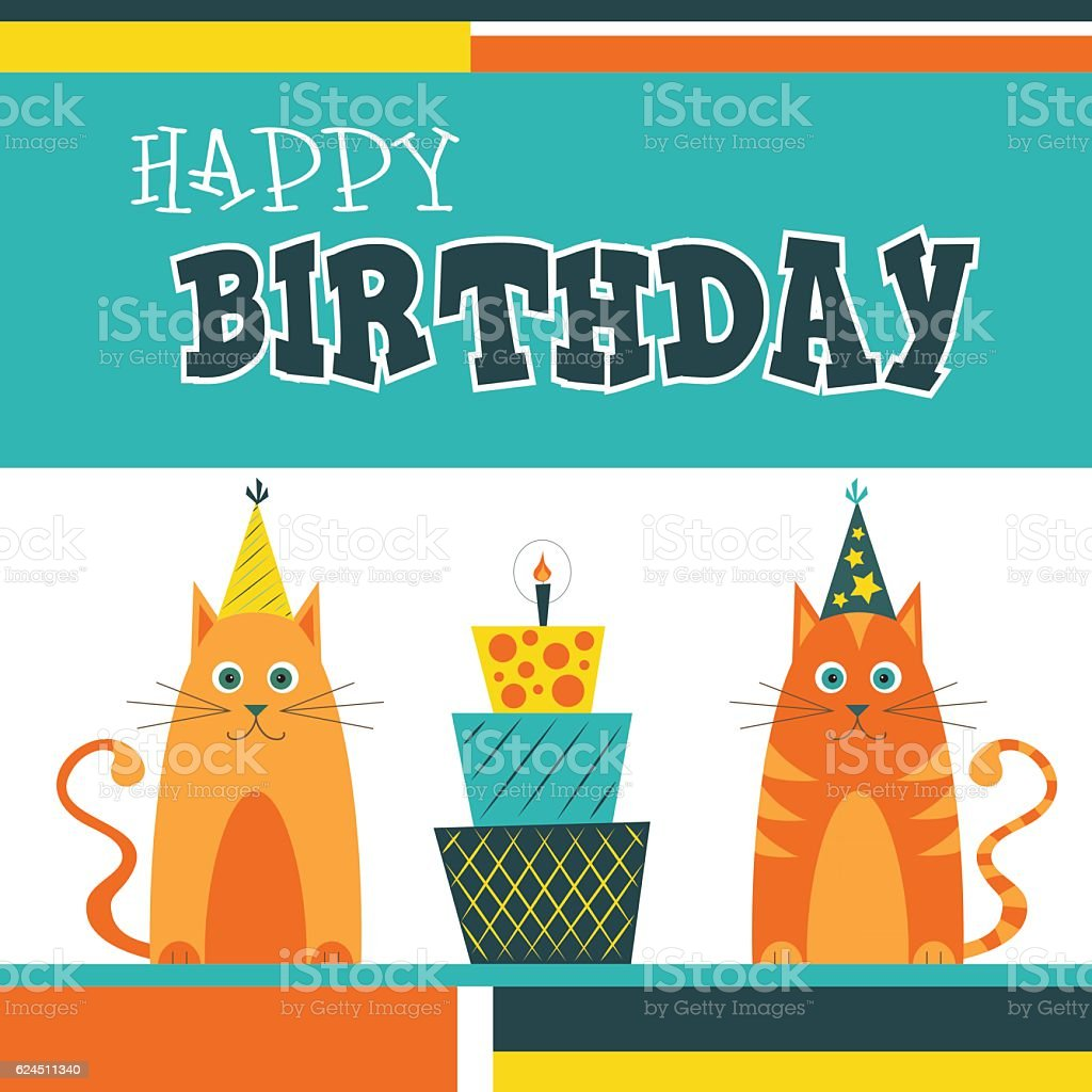 Happy Birthday Greetings Card With Cats And Cake Lizenzfreies