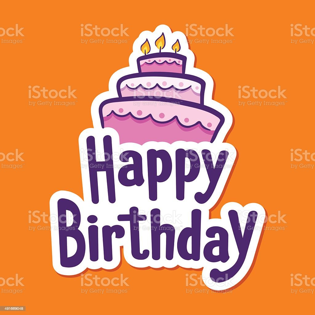 Happy Birthday Greetings With Cake On Top Stock Vector Art 491669048