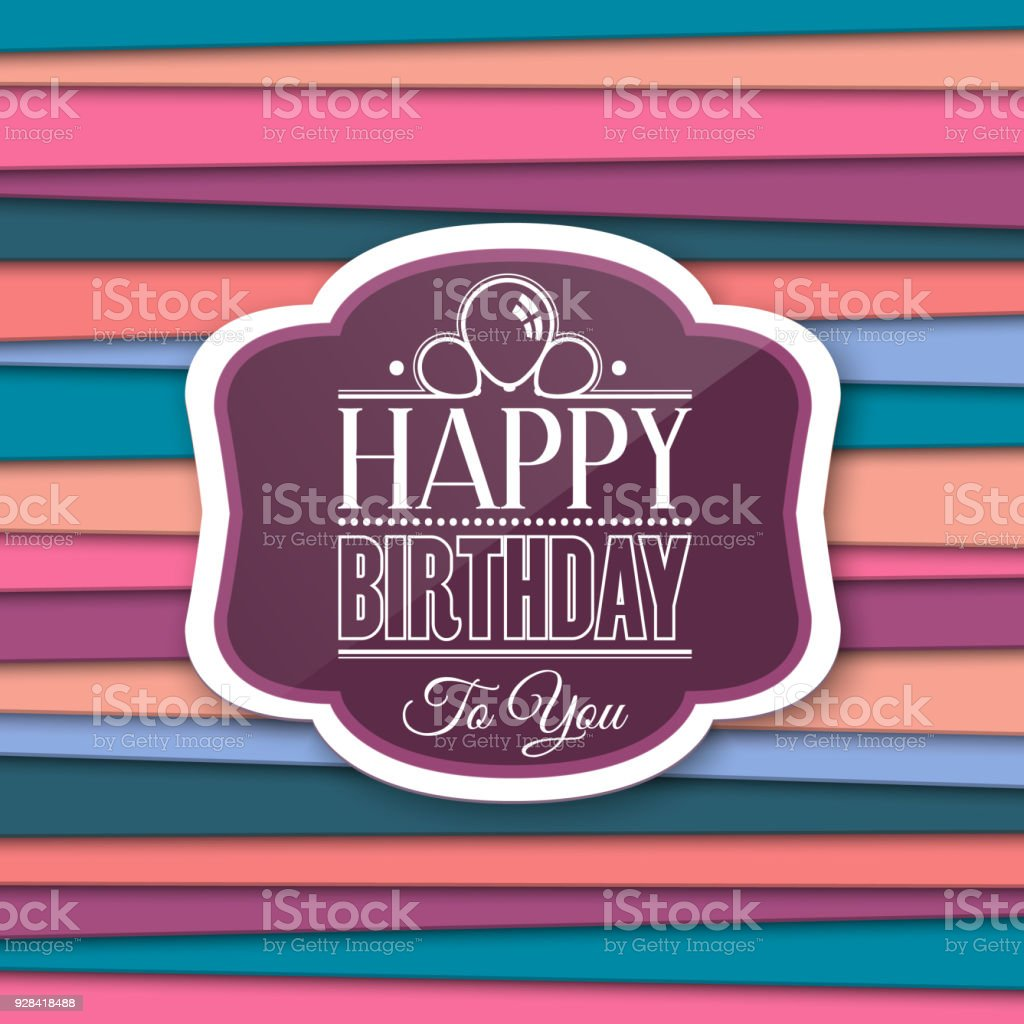Happy Birthday Greetings With Label On Color Background Vector Stock