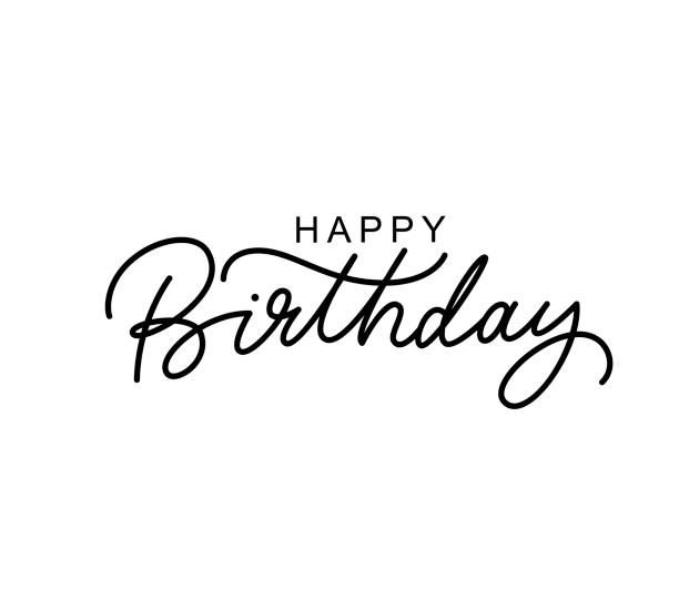 Happy Birthday hand drawn black lettering Happy Birthday hand drawn black lettering. Congratulations ink pen calligraphic texture. B-day wishes quote, phrase isolated clipart. Handwritten calligraphy. Greeting card, poster design element birthday stock illustrations