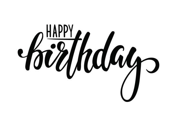illustrations, cliparts, dessins animés et icônes de joyeux anniversaire. lettrage de plume calligraphie et brosse dessiné à la main. conception de cartes de voeux vacances et invitation de douche de bébé, anniversaire, invitation à - anniversaire