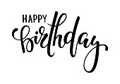 お誕生日おめでとう。手には、書道や筆ペンの文字が描かれました。ホリデー グリーティング カードと招待状シャワー赤ちゃん、誕生日、パーティの招待状のデザイン。