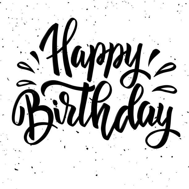 Happy Birthday Brush Script Style Hand Lettering