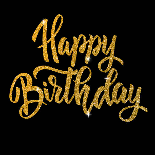Happy birthday. Hand drawn lettering phrase isolated in golden style on dark background. vector art illustration