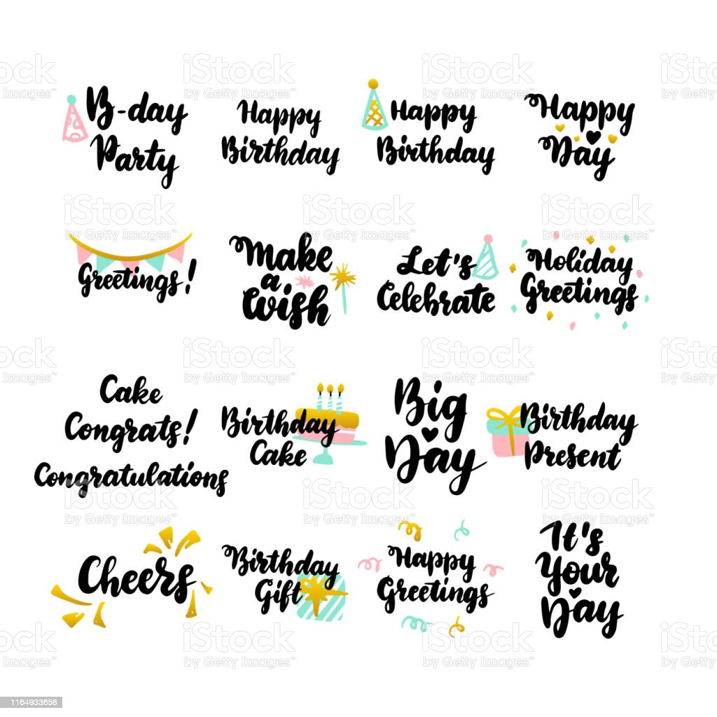 Verjaardag Bericht.Gelukkige Verjaardag Hand Getekende Citaten Stockvectorkunst