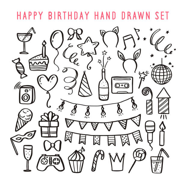 Happy birthday hand drawn set. Vector vintage illustration. Happy birthday hand drawn set. Holidays related design elements collection. Vector vintage illustration. candy drawings stock illustrations