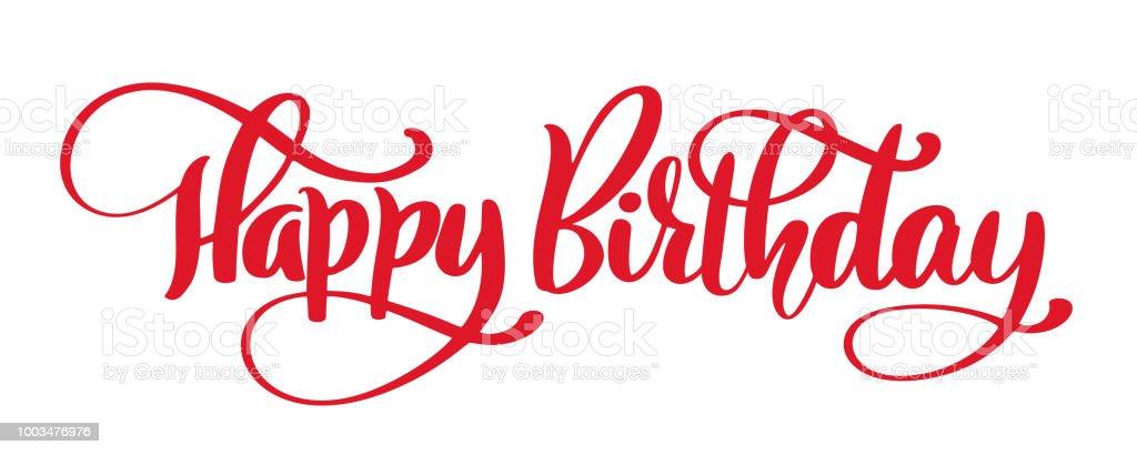 happy birthday hand drawn text phrase calligraphy