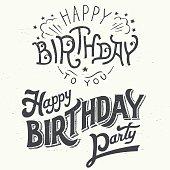 Happy birthday hand drawn typographic design set