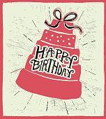 Vector illustration of a Happy Birthday hand lettered design on textured background.