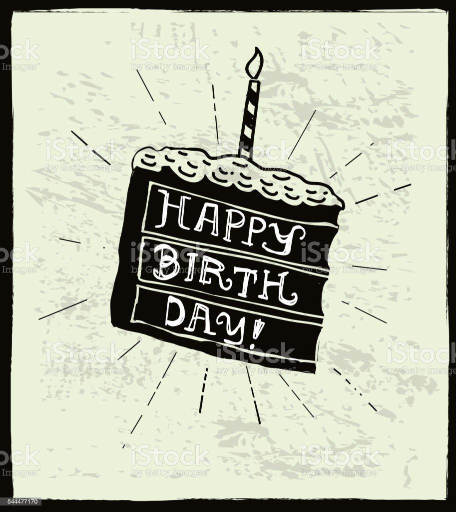 Felice Compleanno A Mano Disegno Letterati Su Una Fetta Di Torta