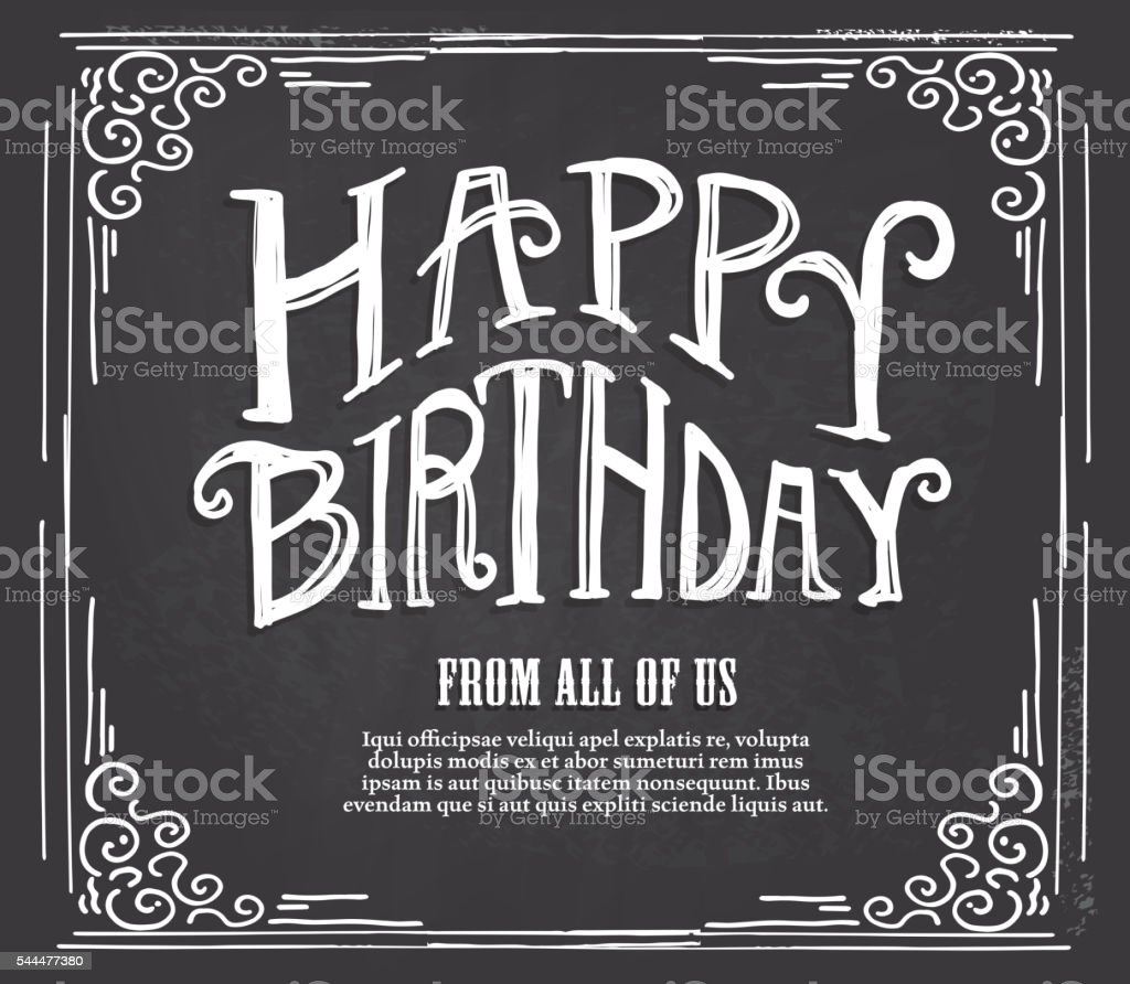 happy birthday hand lettered design template on chalkboard