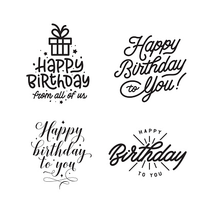 Happy birthday hand lettering compositions set. Vector vintage illustration.