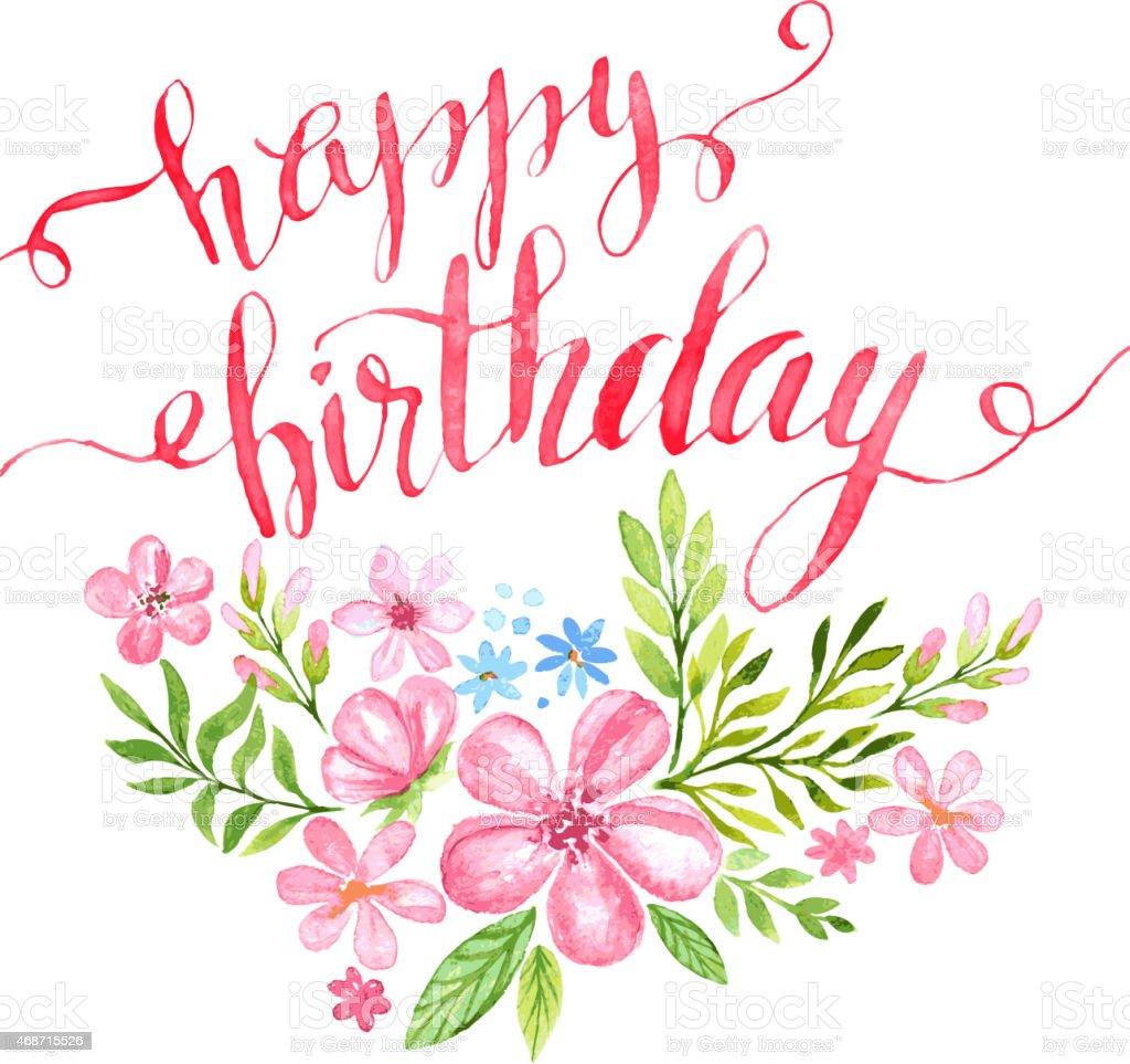 happy birthday handdrawn card vector illustration stock
