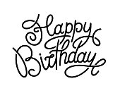 istock Happy birthday. Hand-drawn lettering isolated on white background. 1200758683