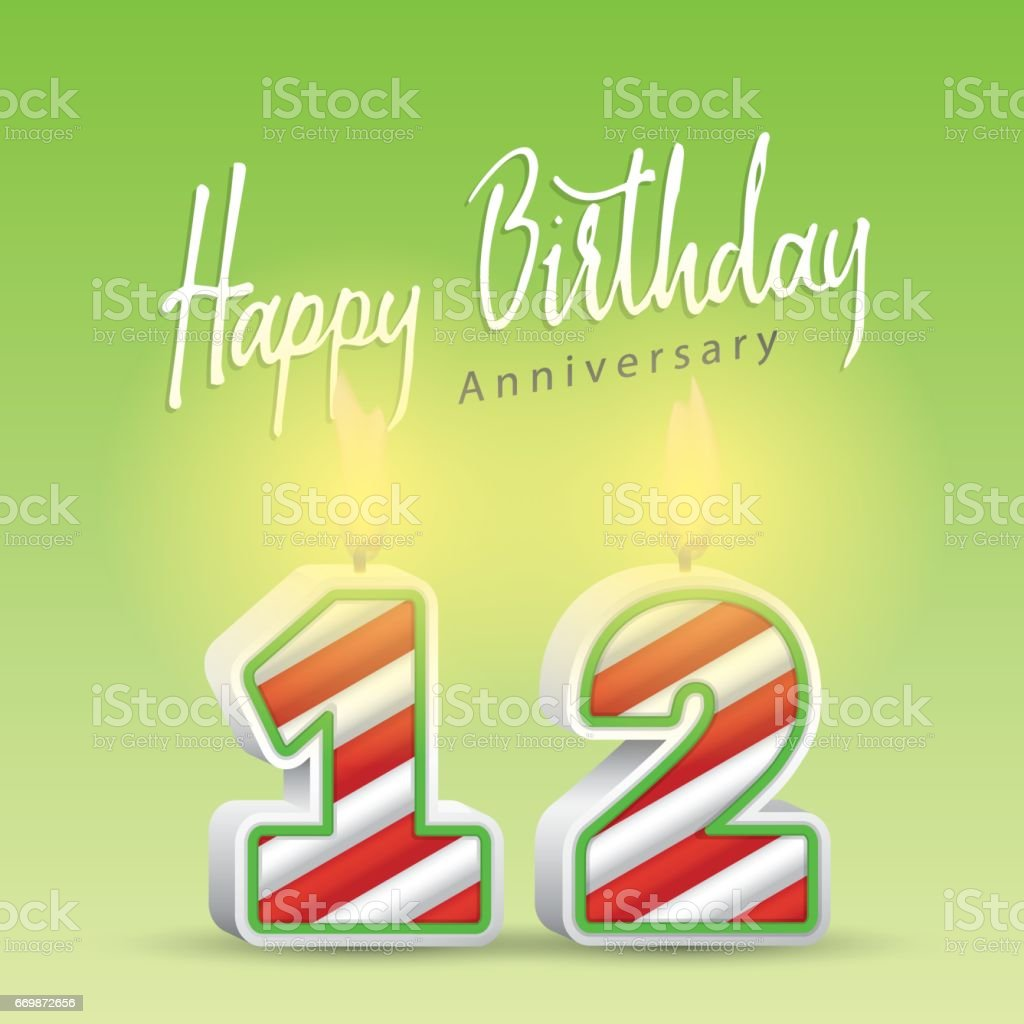 Happy birthday handwrite heading design and candle celebrate anniversary number 12. Vector illustration. vector art illustration
