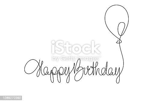istock Happy Birthday handwritten lettering with symbolic party balloon 1289272392