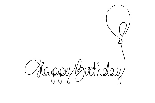 Happy Birthday phrase continuous line drawing design. Vector illustration