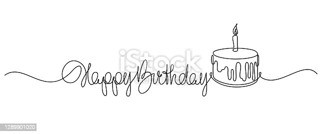 Happy Birthday handwritten lettering with traditional birthday cake
