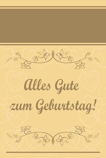 Happy birthday - Happy birthday - beige vector greeting card