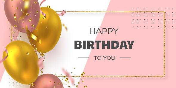 Happy Birthday Holiday Banner - Arte vetorial de stock e mais imagens de Abstrato