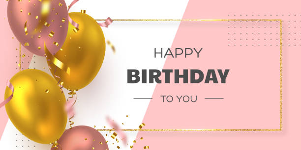 Happy Birthday holiday banner. Happy Birthday holiday banner with glittering golden frame, 3d realistic glossy balloons and falling confetti. White and pink background. Vector template for greeting card, poster. celebration stock illustrations