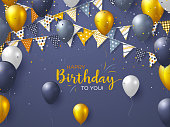 Happy Birthday holiday design for greeting cards.