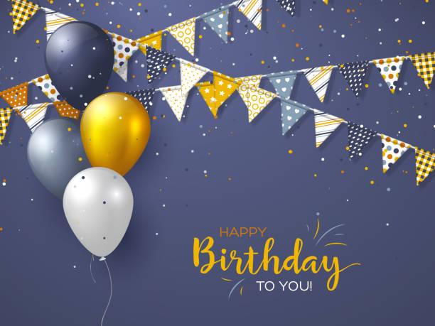 ilustrações de stock, clip art, desenhos animados e ícones de happy birthday holiday design for greeting cards. - balão enfeite