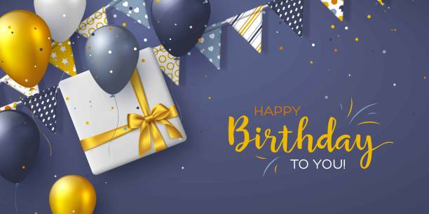 happy birthday holiday design for greeting cards. - prezent na urodziny stock illustrations