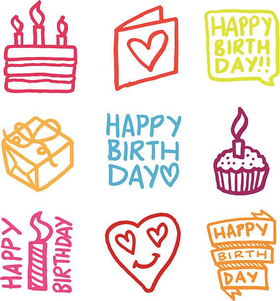 Happy Birthday icon-set – Vektorgrafik