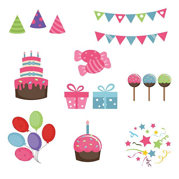 happy birthday icons set - 出産点のイラスト素材/クリップアート素材/マンガ素材/アイコン素材