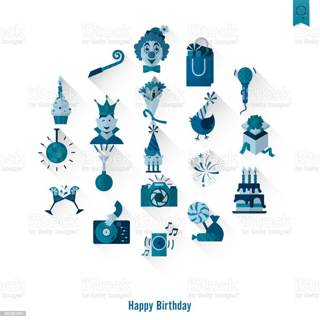 Alles Gute zum Geburtstag Symbole Satz Lizenzfreies alles gute zum geburtstag symbole satz stock vektor art und mehr bilder von blasinstrument