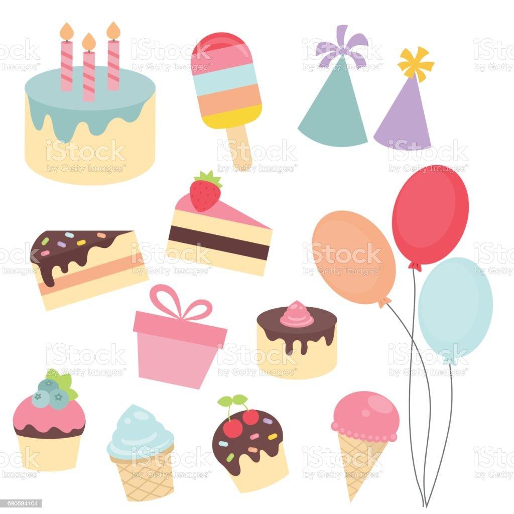 Set de iconos de feliz cumpleaños - ilustración de arte vectorial