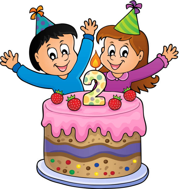 Happy Birthday Image For 2 Years Old Vector Art Illustration