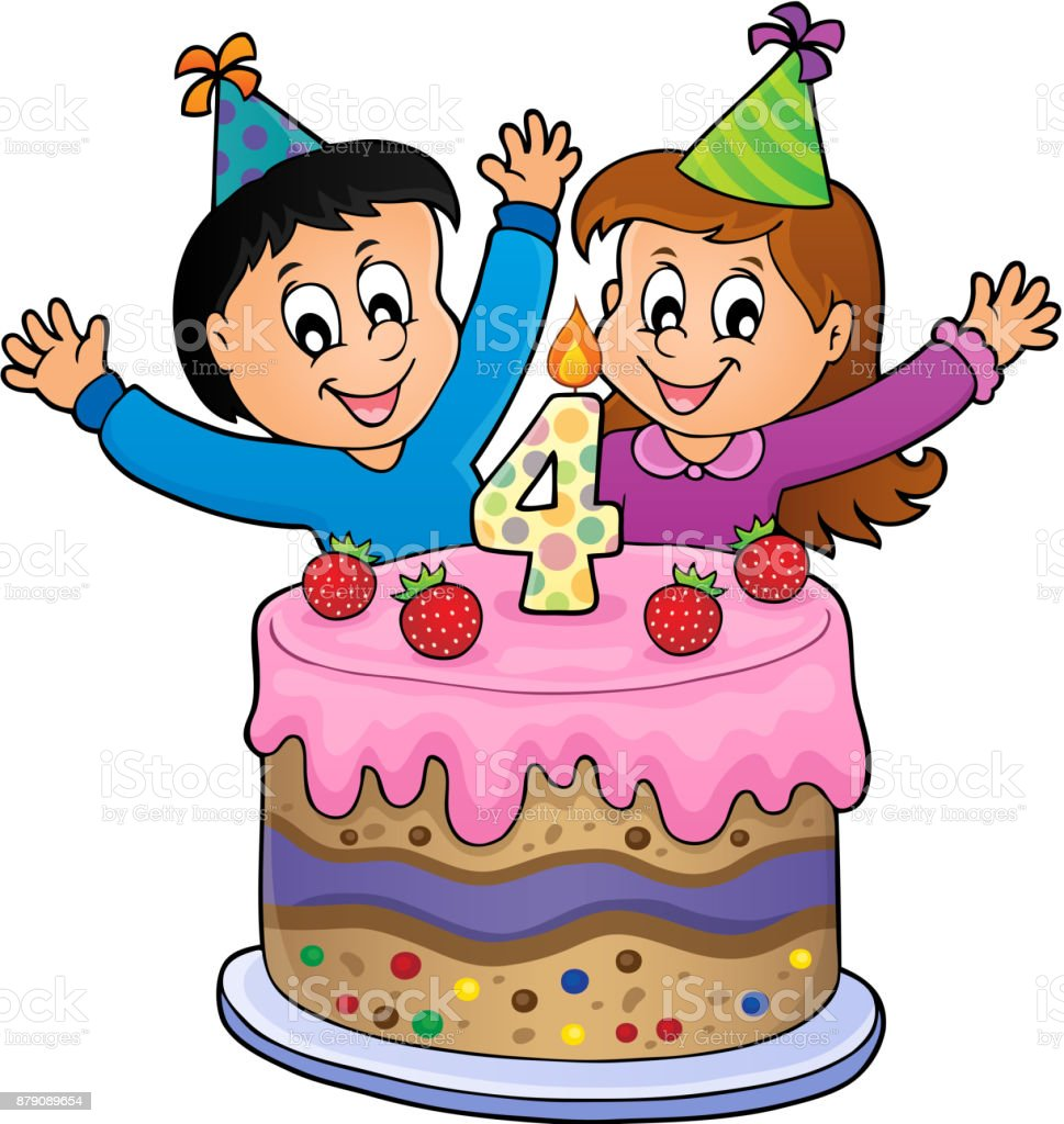 Surprising Happy Birthday Image For 4 Years Old Stock Illustration Download Personalised Birthday Cards Veneteletsinfo