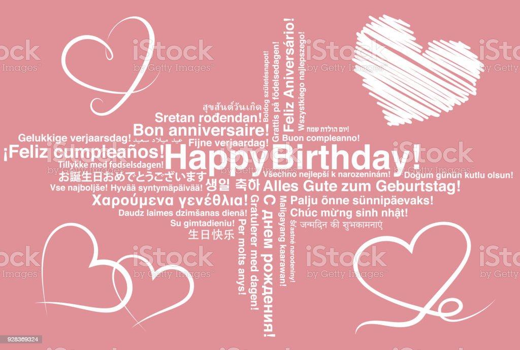Happy birthday in different languages wordcloud greeting card with happy birthday in different languages wordcloud greeting card with heart shapes royalty free happy birthday m4hsunfo