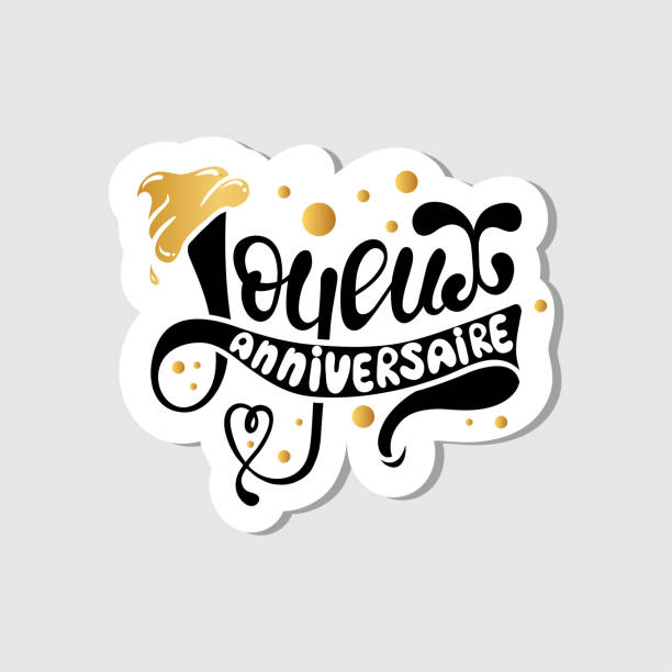 Royalty Free Joyeux Anniversaire Happy Birthday In French Card Clip