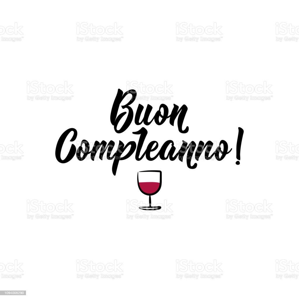 Happy Birthday In Italian Ink Illustration With Handdrawn