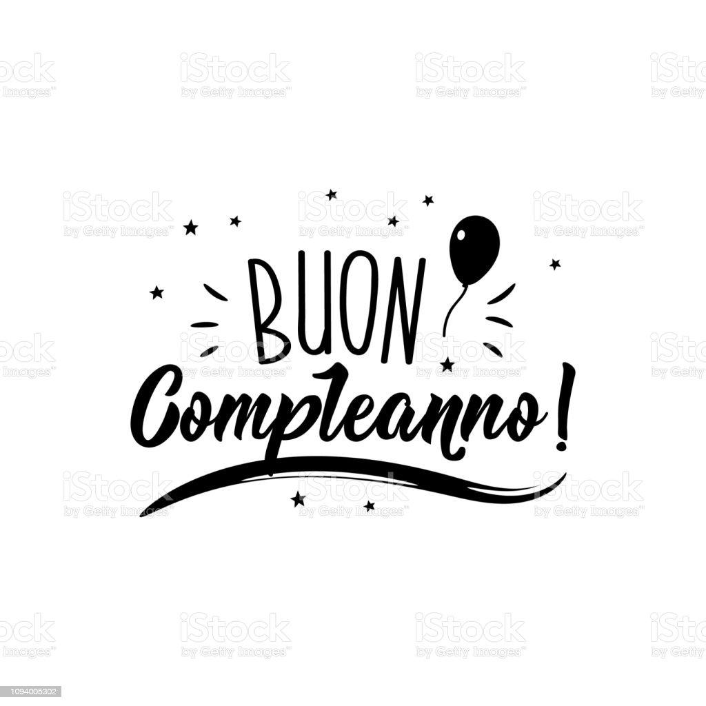 Joyeux Anniversaire En Italien Illustration Dencre Avec Lettrage