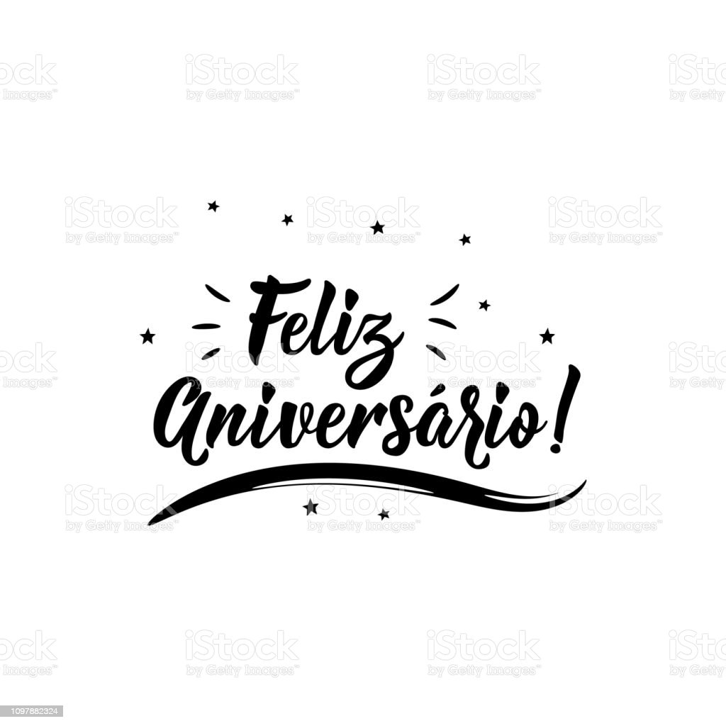 Happy Birthday in Portuguese. Ink illustration with hand-drawn lettering. Feliz Aniversario royalty-free happy birthday in portuguese ink illustration with handdrawn lettering feliz aniversario stock illustration - download image now