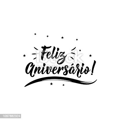 istock Happy Birthday in Portuguese. Ink illustration with hand-drawn lettering. Feliz Aniversario 1097882324