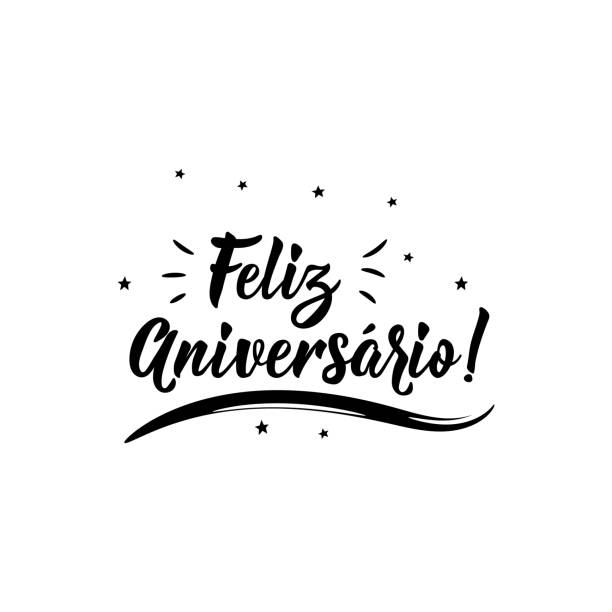 Happy Birthday in Portuguese. Ink illustration with hand-drawn lettering. Feliz Aniversario Feliz Aniversario. Lettering. Translation from Portuguese- Happy Birthday. Modern vector brush calligraphy. Ink illustration birthday stock illustrations